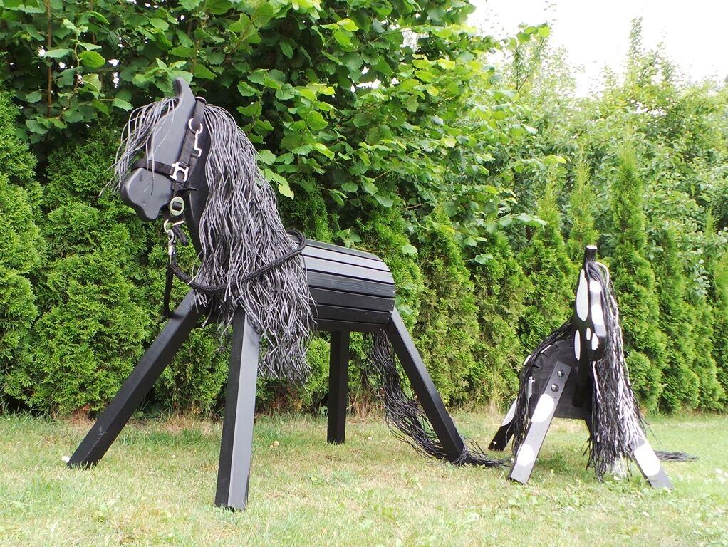 Holzpferd Voltigierpferd Ostwind 75 75 75 cm Spielpferd Rappe Garantie NEU 3b1dd1