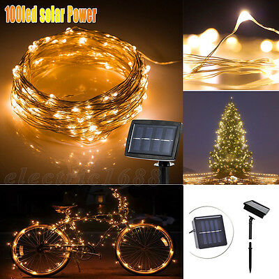 100 LED Solar Powered Fairy String Strip Light Xmas Garden Party Lamp Warm 10M