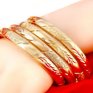 18k-Yellow-Gold-Opening-Design-Large-8-034-Bracelet-Bangle-Womens-w-GiftPg-D415-6