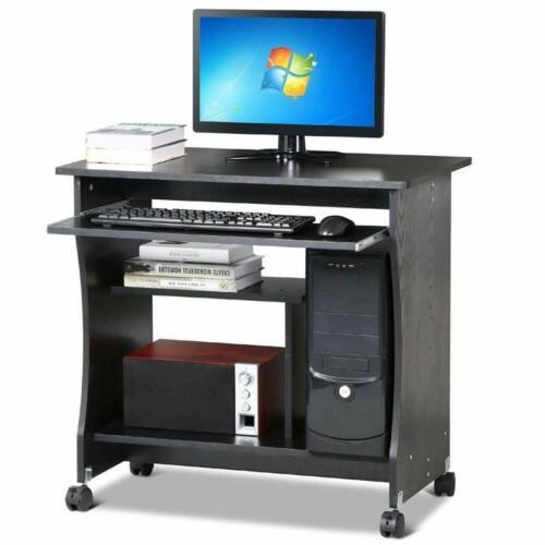 Black Computer Desk Home Office PC Table Workstation w// Storage Shelves Unit UK