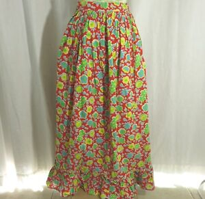 Vintage-1960s-Hippie-Boho-Peasant-Festival-Skirt-Floral-Red-Yellow-Blue-Green