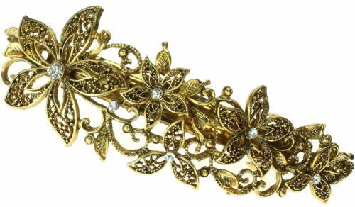 5333 10cm Antique gilt crystal filligree flower barrette hair clip wedding party