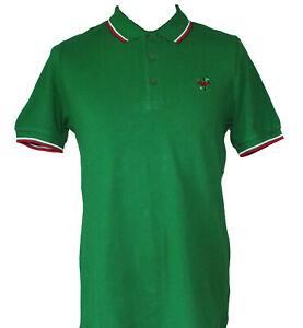 Rare Warrior UK England Green Slim Fit Soul 45 Polo Shirt Hemd 100% Cotton KTF