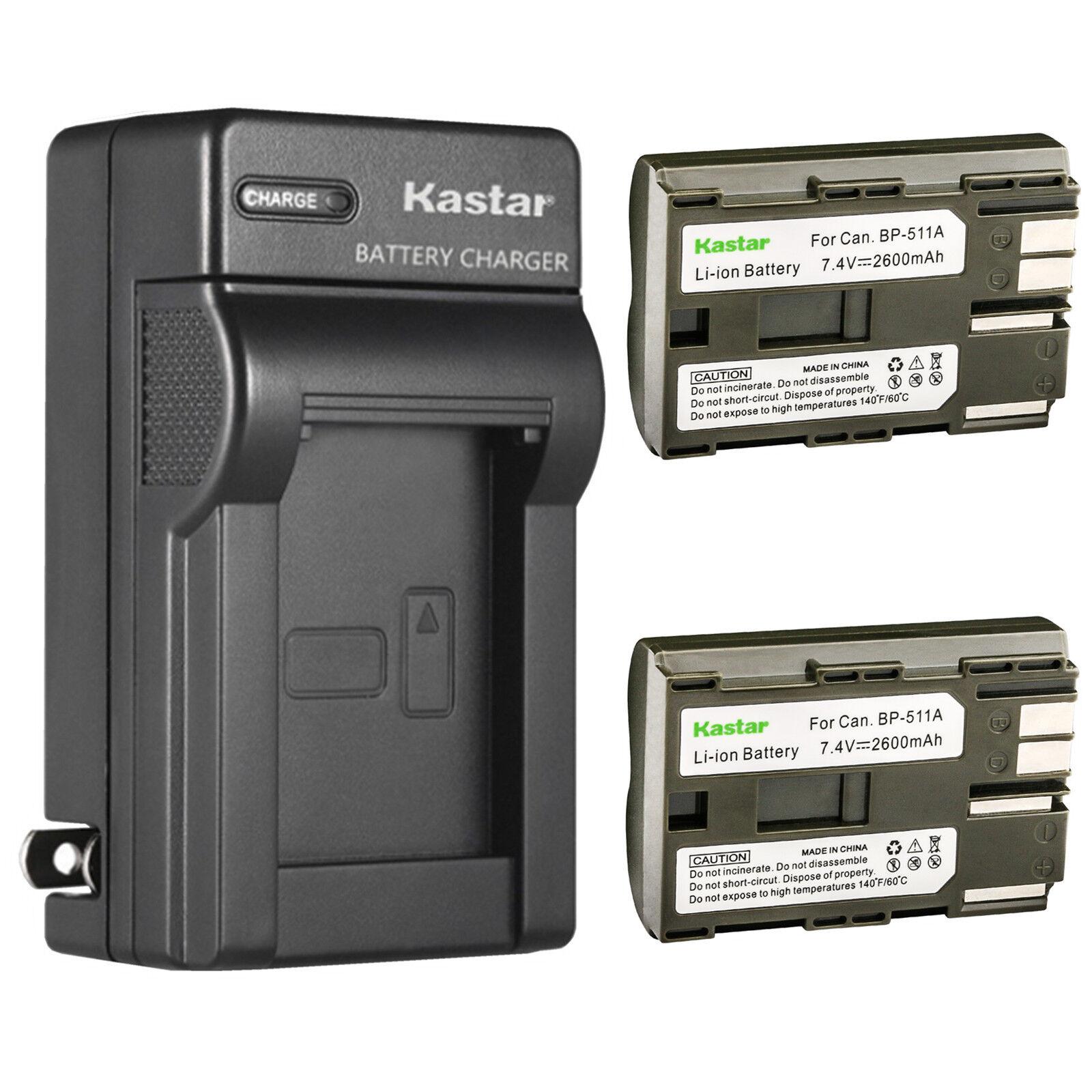 10D G1 20D G2 Digital Rebel 1D D60 300D Pro90 etc. G3 Kastar Travel Charger for Canon BP-511 BP-511A Pro 1 40D 30D BP511 50D BP511A and Canon EOS 5D D30 G6 Kiss Powershot G5