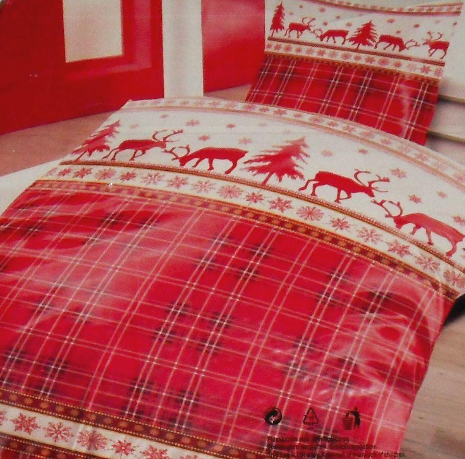 2-tlg. Bettwäsche  KARO RENTIER  kuschlig warmes, leichtes Thermofleece, Rot