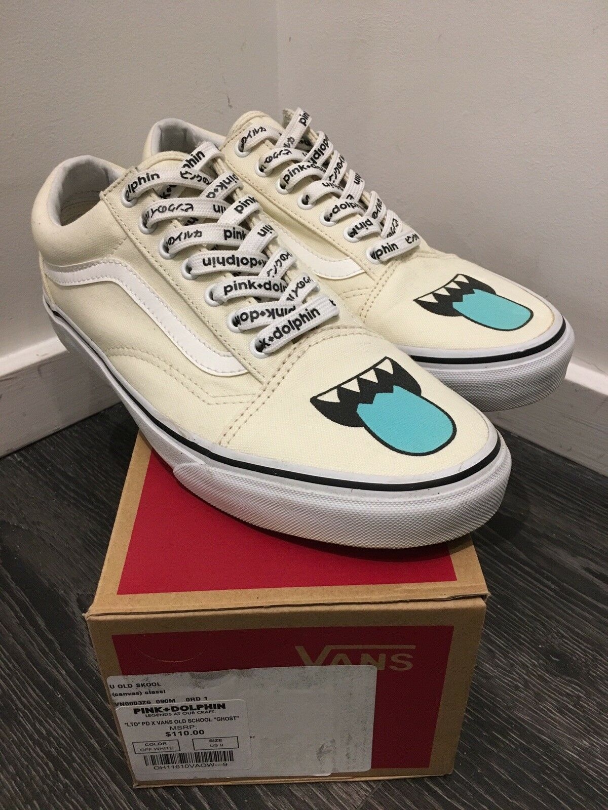 """Pink Dolphin Old Skool Vans """"Ghost"""" Size 9"""