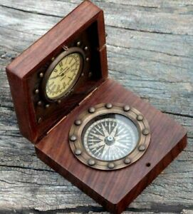 Antique-Brass-Nautical-Compass-And-Watch-With-Wooden-Box-Or-Brass-Gift