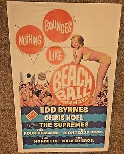 ORIGINAL-1965-1-SHEET-MOVIE-POSTER-BEACH-BALL-41-034-X27-034-SURFING-SURF-SURFBOARD