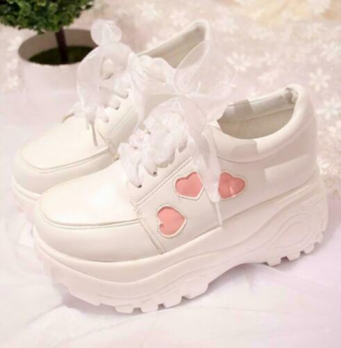 Chaussures Femme Plate-forme Baskets Bout rond lacets Lolita Wedge Talons Chaussures Sport Fashion