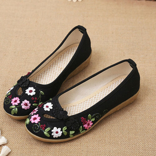 Chinese Embroidered Floral Loafer Flats Shoes Women Ballerina Cotton Ballet Shoe