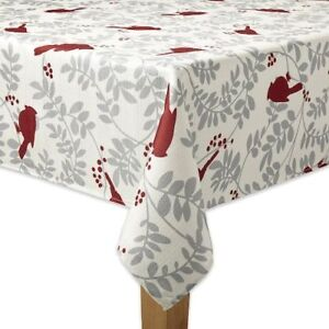 Image Is Loading Red Cream Gray Cardinal Holiday Tablecloth Durable 60x84