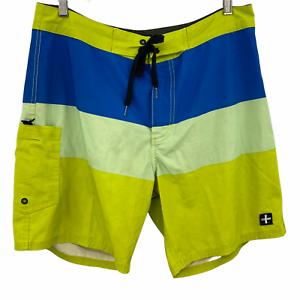 "Tavik Men's Casual Multicolor Color Block Surf Board Surf Shorts Size 33"""