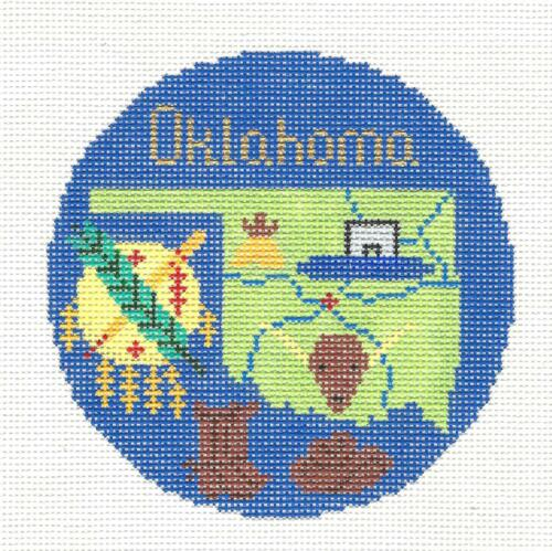 OKLAHOMA State Ornament handpainted Needlepoint Canvas by Silver Needle