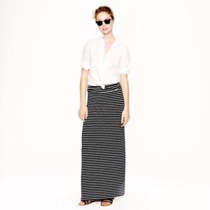 9cfaa263dc1 NWT Women s J.Crew Striped Knit Maxi Skirt Size XXS Black   White ...