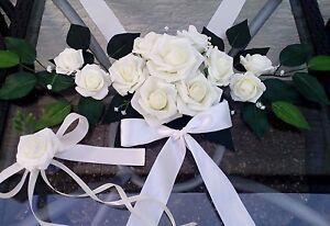 Komplett Set Autodeko Autoschmuck Braut Paar Hochzeit Brautauto