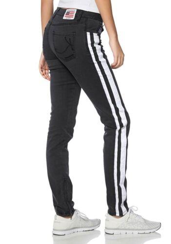 36, Schwarz J3060 KangaROOS Damen Jeans Jeanshose mit Streifen
