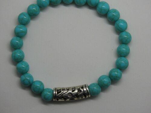Blue Turquoise Bracelet Aztec Tribal Silver Bar Ethnic Traditional Healing UK