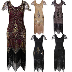 1920s Flapper Dress Gatsby Costumes Vintage 20s Roaring Evening Gowns Plus Size