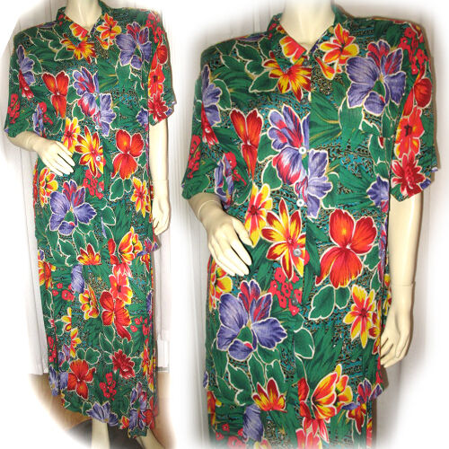 VINTAGE 80s 1980s 2pc Green Hawaiian Red Floral Print Dress Women's Dresses M