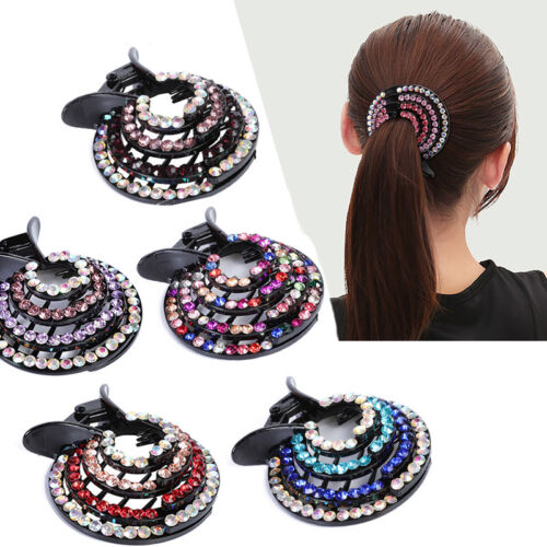 Women/'s Hair Clips Nest Expanding Crystal Hairpin Bun Ponytail Hair Accessories