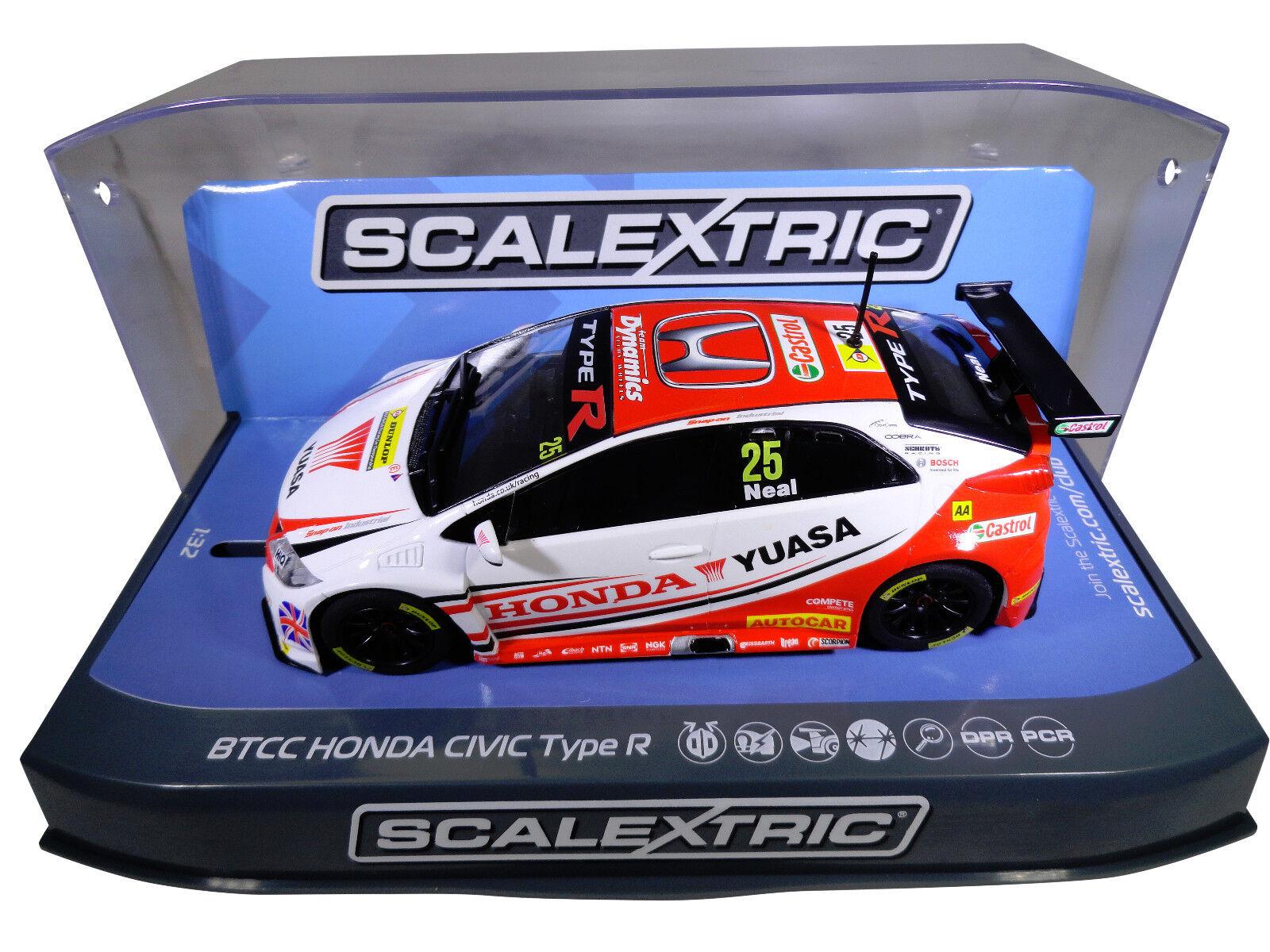 Scalextric  Yuasa  BTCC Honda Civic PCR DPR W  Lights 1 32 Scale Slot Car C3734
