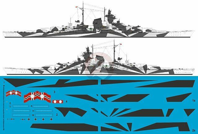 Peddinghaus 1 200 Tirpitz Battleship Markings w Hull Camouflage Norway 1944 3556