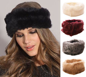 Image is loading LADIES-FAUX-FUR-HEADBAND-WINTER-WARM-EAR-PROTECTOR- cc0bb47578e