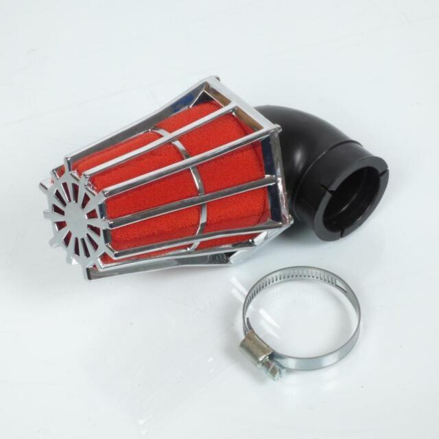 Cornet filtre à air chromé mousse rouge pour moto angle 90 Ø35mm Neuf