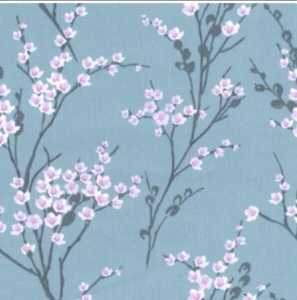 100% Cotton Fabric Quilting Crafts Hazy Blue 'May Blossom' NEW-Half Metre