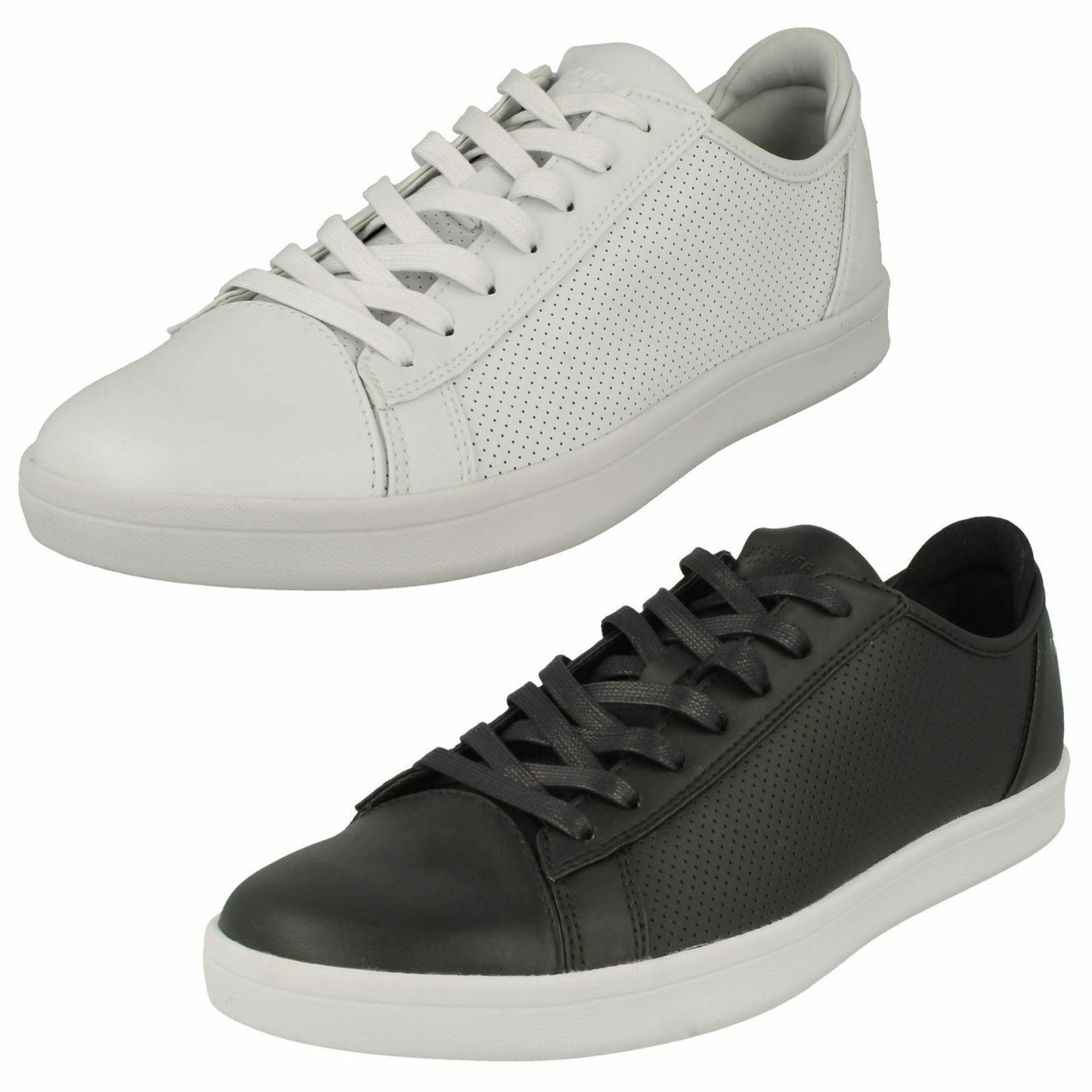 Mens Skechers Highland-T 52349 Black Or White Leather Synthetic Casual Trainers