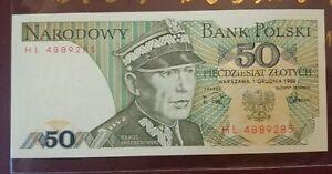 Poland Bank Polski 50 Piecdziesiat Zlotych 1988 (UNC)
