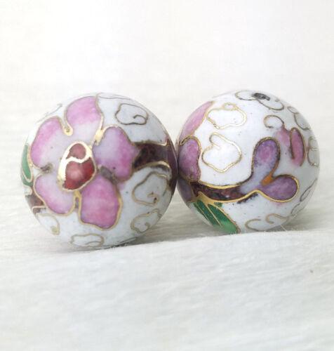 Vintage BIG blanc fleurs roses CLOISONNE CHINOIS émail 18 mm rond 2Pcs