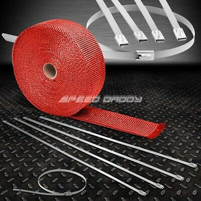 10M Racing Exhaust Header Turbo Manifold Downpipe Silver Heat Wrap With Zip Ties