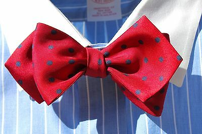 Bow Tie Club Red & Navy Dot Diamond Point Adjustable Self-Tie Silk Bow Tie - USA