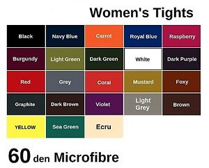 60-denier-Women-039-s-LADIES-Opaque-Microfibre-TIGHTS-Various-Sizes-and-Colours