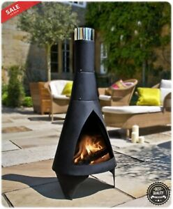 Super Details About Outdoor Fireplace Chiminea Wood Burning Steel Fire Pit Yard Patio Garden Deck Home Interior And Landscaping Ologienasavecom
