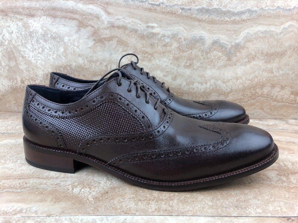 Zapatos De Vestir Cole Haan Williams Wing II Burnt Umber en relieve Tejido Marrón Oscuro