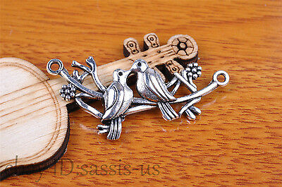10pcs 45*21mm Charm love bird pendant Diy Jewelry For Bracelet Tibet Silver 7131