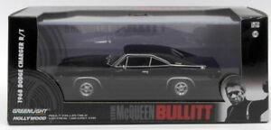 Greenlight-escala-1-43-de-86432-a-1968-Dodge-Cargador-Bullit-Negro-Negro-Neumaticos