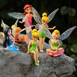 6pcs 4.5-11CM Cute Adorable Tinkerbell Tinker Bell Fairy PVC Action Figure Toy