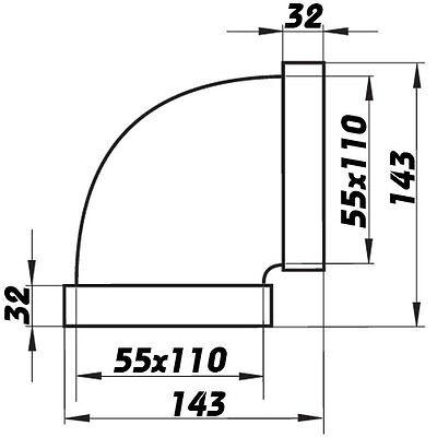 Flachkanal-Winkel 90°, Kniestück,Umlenkstück horizontal,Lüftungsrohr, Abluftrohr