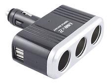 3 Way Socket Splitter Car Cigarette Lighter Charger Adapter 12V 2 USB Ports New