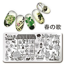Nail Art Stamp Plate Potted Plant Gard Theme Manicure Stencil Harunouta L036