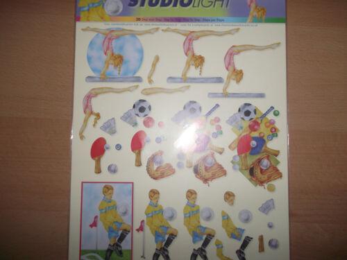 2 x A4 Non Die Cut Cardmaking Decoupage Sheet Sports Various Designs