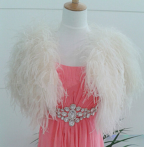 Feather Tops Bolero Fur Furry Hairy Bridal Størrelse Coat Ivory xxl Jakke S 18q51UT