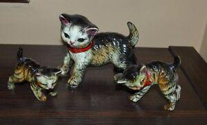 Set of 3 Vintage Tabby Cats Figurines Mom Cat & 2 Kittens Porcelain Ceramic