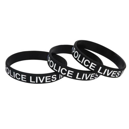 3x Police Lives Matter Silicone Wristband Bracelet Silicone Letter Print Bangle