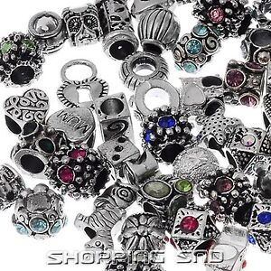Lot 30pcs MIX Silver Tone Crystal Rhinestone Tibetan Beads Fit Charms Bracelets