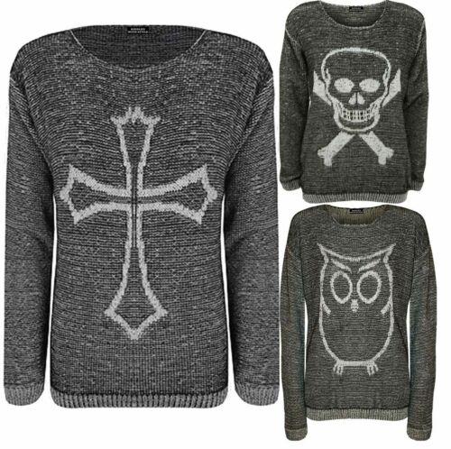 Women/'s Ladies Skull Skeleton Knitted Halloween Jumper Top Dress New UK