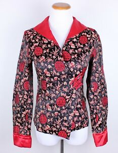 Chinese-Vintage-Womens-100-Silk-Xing-Ao-Red-Blouse-Jacket-Size-L-Fits-Small